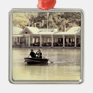 Vintage Antiqued Rowboat Photo of Central Park Silver-Colored Square Decoration
