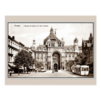 Vintage Antwerp Central Railroad Station Postcard