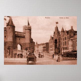 Vintage Antwerp medieval castle belle époque Posters