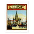Vintage Antwerp port view advertising Postcard