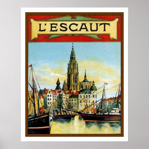 Vintage Antwerp port view advertising poster