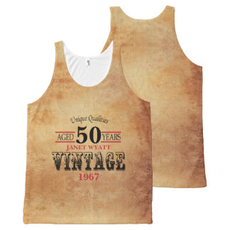 Vintage Any Age and Year Birthday All-Over Print Tank Top