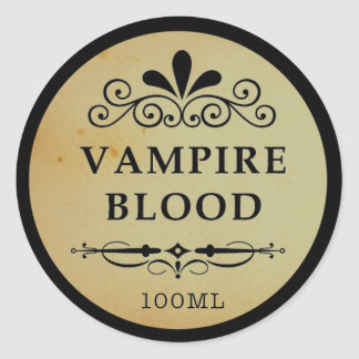 Vintage Apothecary Vampire Blood Halloween Sticker