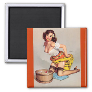 Vintage Apple Bobbing Gil Elvgren Pin Up Girl Square Magnet