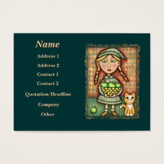 Vintage Apple Girl & Cat Art Business Card