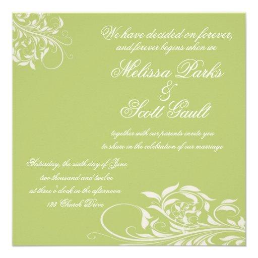 Vintage Apple Green Swirl Wedding Invitation
