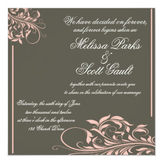 Vintage Apple Pink and Grey Wedding Invitation