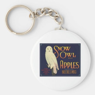 Vintage Apples Food Product Label Basic Round Button Key Ring