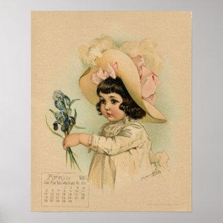 Vintage April 1891 beautiful children drawing Poster