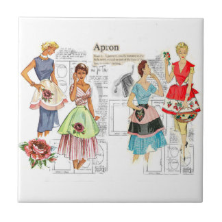 Vintage Apron Sewing Pattern Tile