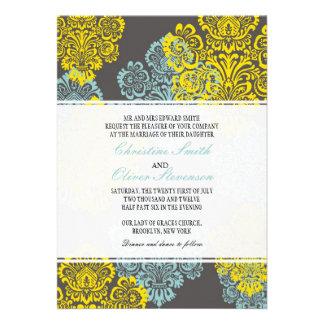 Vintage Aqua and Yellow Damask Wedding Invitation