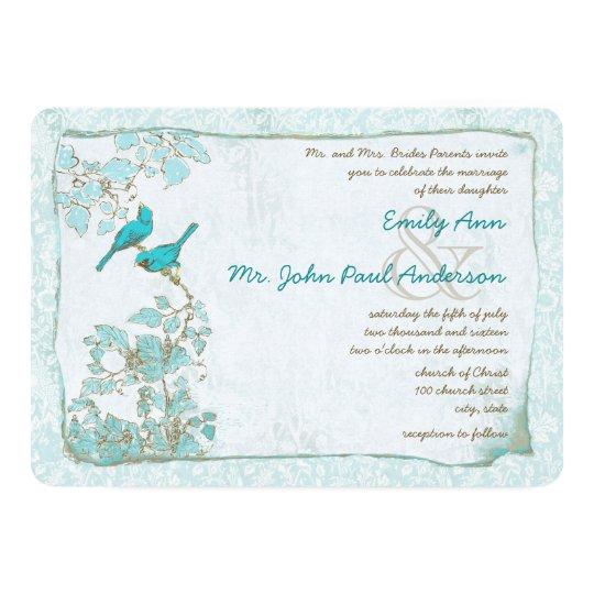 Vintage Aqua Birds Damask Pink Font Wedding Invite