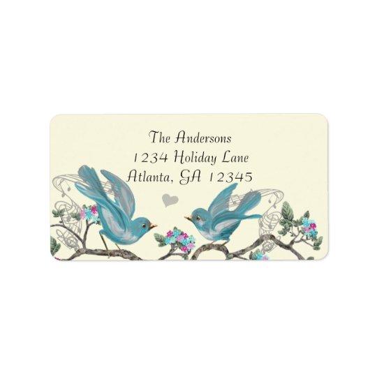 Vintage Aqua Birds Hot Pink & Aqua Flower Labels