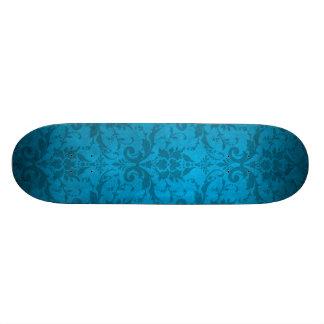 Vintage Aqua Blue Damask Wallpaper 21.6 Cm Skateboard Deck