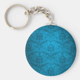Vintage Aqua Blue Damask Wallpaper Basic Round Button Key Ring