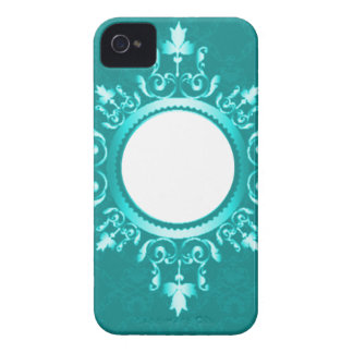 Vintage Aqua Blue Mint Green & White Scroll Frame iPhone 4 Covers