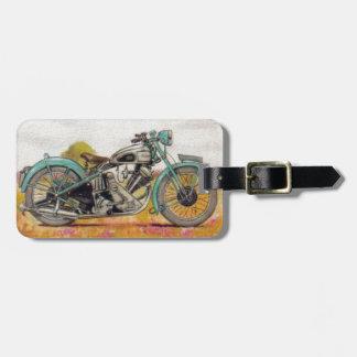 Vintage Aqua Blue Motorcycle Print Luggage Tag