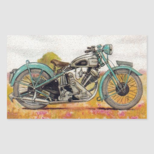 Vintage Aqua Blue Motorcycle Print Rectangle Stickers