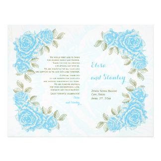 Vintage aqua blue roses wedding folded program 21.5 cm x 28 cm flyer