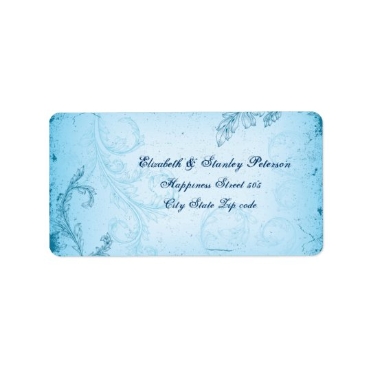 Vintage aqua blue scroll leaf wedding address label