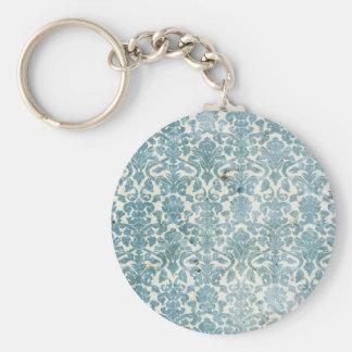 Vintage Aqua Damask Basic Round Button Key Ring