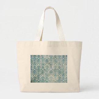 Vintage Aqua Damask Jumbo Tote Bag