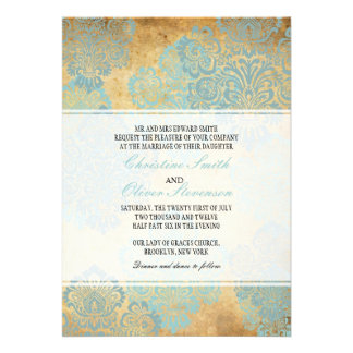Vintage Aqua Damask Wedding Invitation