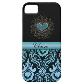 Vintage Aqua Damask with Heart Personalized Case iPhone 5 Case