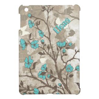Vintage aqua flowers beige, taupe floral iPad mini cases