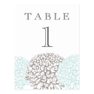 Vintage Aqua Flowers Suite Table Number Post Card