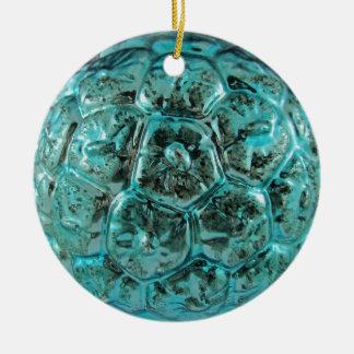 Vintage Aqua Glass Christmas Ball Tiffany Blue Round Ceramic Decoration