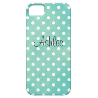 Vintage Aqua Polka Dot iPhone 5 Case