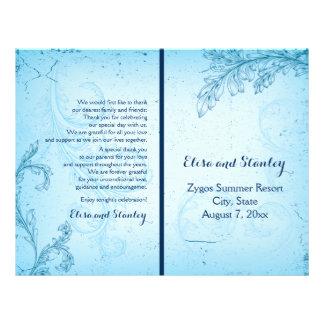 Vintage aqua scroll leaf folded wedding program 21.5 cm x 28 cm flyer