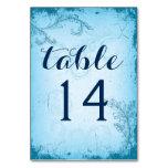 Vintage aqua scroll leaf wedding table number table cards