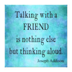 Vintage Aqua Teal Blue Addison Friendship Quote Canvas Print