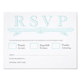 Vintage Aqua Turquoise Wedding RSVP Cards