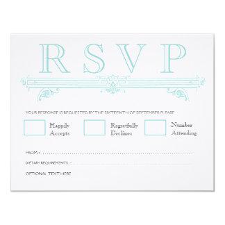 Vintage Aqua Turquoise Wedding RSVP Cards 11 Cm X 14 Cm Invitation Card