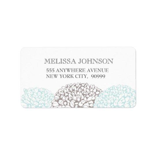 Vintage Aqua Zinnia Flower Address Labels