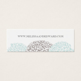 Vintage Aqua Zinnia Flowers Wedding Website Cards