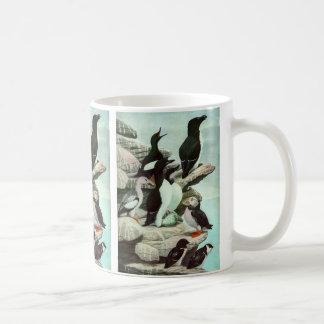 Vintage Aquatic Birds Puffins, Marine Life Animals Basic White Mug