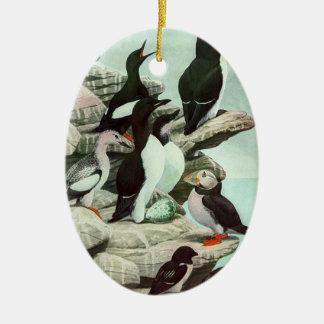 Vintage Aquatic Birds Puffins, Marine Life Animals Ceramic Oval Decoration