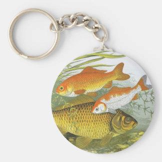 Vintage Aquatic Goldfish Koi Fish, Marine Sea Life Key Ring