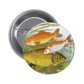 Vintage Aquatic Goldfish Koi, Marine Sea Life Fish 6 Cm Round Badge