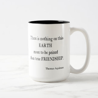 Vintage Aquinas Friendship Inspirational Quote Two-Tone Coffee Mug