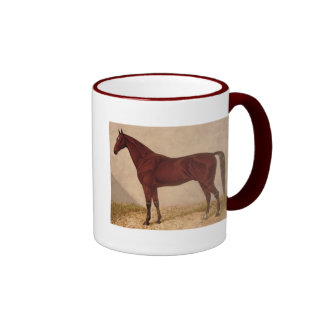 Vintage Arabian Horse In Stable Illustration Ringer Coffee Mug