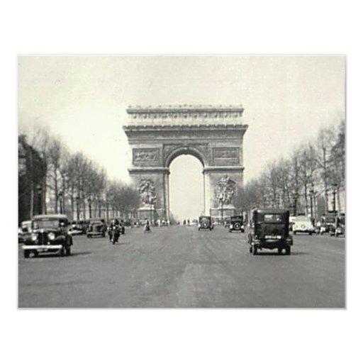 Vintage Arc de Triomphe  France 11 Cm X 14 Cm Invitation Card