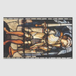 Vintage Archangel, Saint Michael by Burne Jones Rectangular Sticker