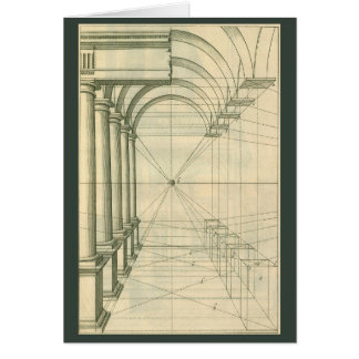Vintage Architecture, Arches Columns Perspective Card