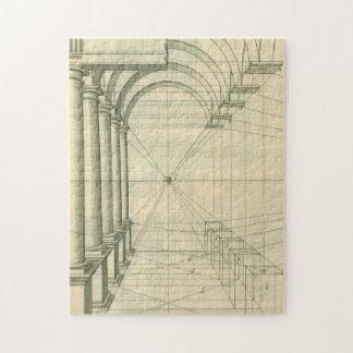 Vintage Architecture, Arches Columns Perspective Jigsaw Puzzle
