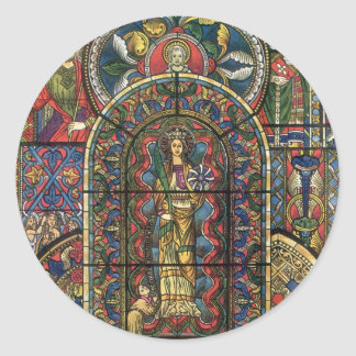 Vintage Architecture, Church Stained Glass Window Round Sticker